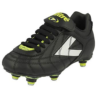 Boys Junior Football Boots 'Salvador' - Synthetic - Black - UK Shoe Size Junior 11