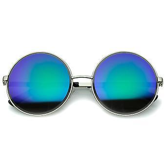 Oversize Metallrahmen geätzten Rand farbige Spiegel-Objektiv Runde Sonnenbrille 60mm