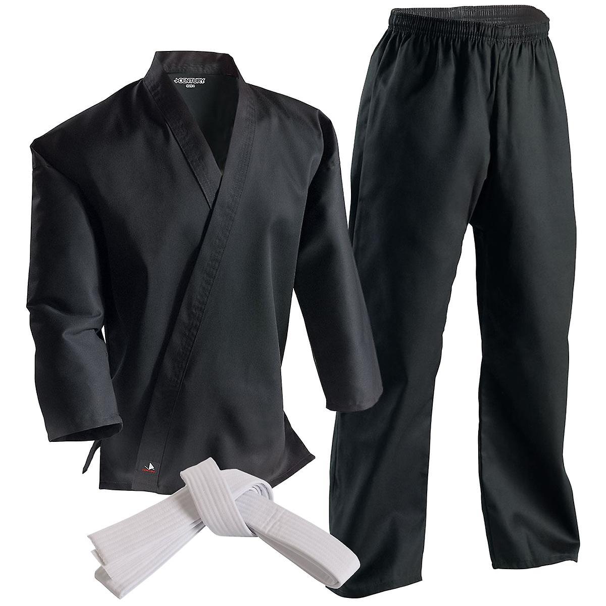 Siècle 6 oz léger étudiant uniforme avec élastique Pants-noir-arts martiaux