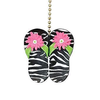 Sjove dyr Zebra Print Flip Flop sandaler loft Fan lys Pull