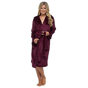 Ladies Supersoft Warm Shimmer Fleece Hooded Wrap Over Bathrobe Dressing Gown