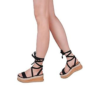 Suede Lace Up gevlochten Cork wig platte Espadrille sandalen zwart