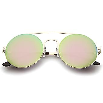 Modern Slim Frame Double Nose Bridge Colored Mirror Flat Lens Round Sunglasses 53mm