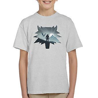 Witcher Wild Hunt Silhouette In Wolf Head Kid's T-Shirt