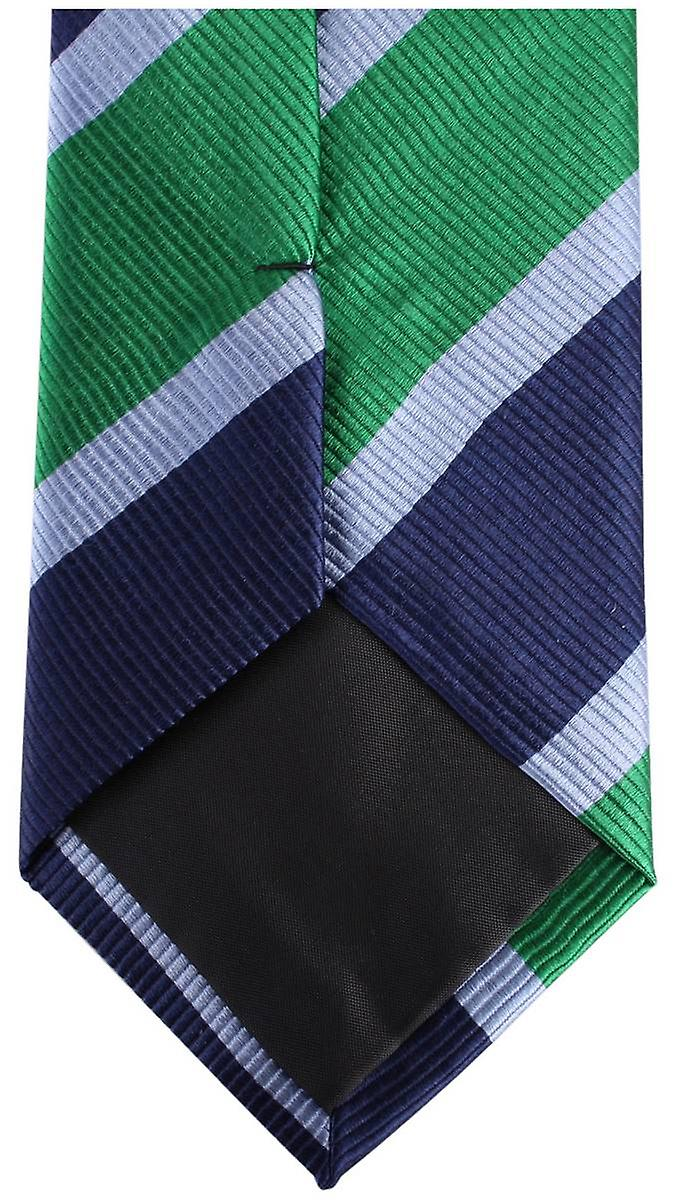Knightsbridge Neckwear Kensington Diagonal Striped Silk Tie - Navy/Green