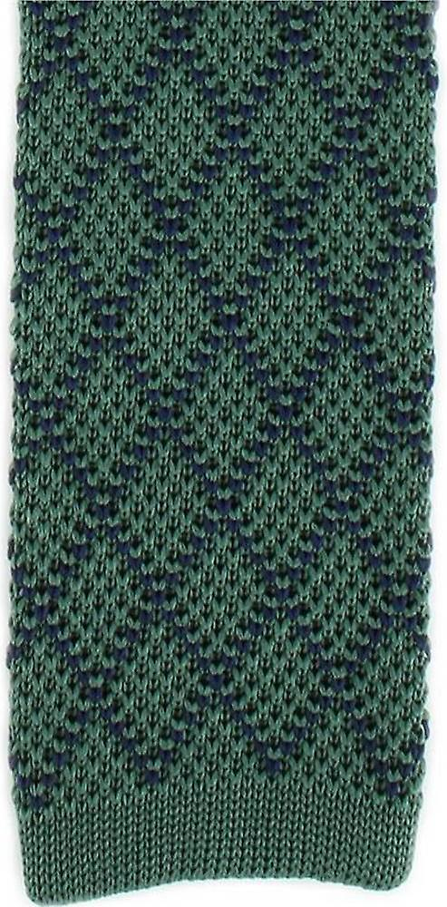 Michelsons of London Diamond Silk Knitted Skinny Tie - Green/Navy