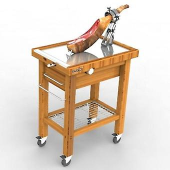 Saigo Professional Jamonero Folding table in stainless steel.