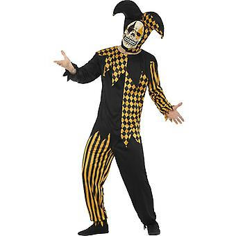 Smiffys Evil Court Jester Black Gold Top Trousers Headpiece Latex Mask (Costumes)