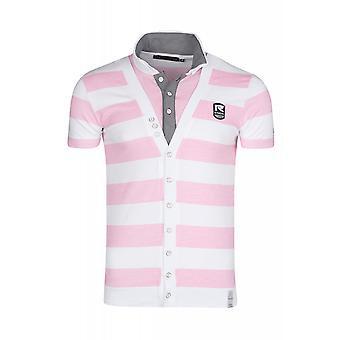 RUSTY NEAL striped shirt men's Polo Shirt Pink striped