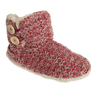 Womens/Ladies Knitted Boot Slippers With Button Detail