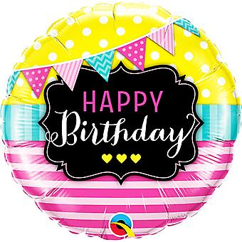Qualatex 18 Inch Happy Birthday Pennants And Pink Stripes Circle Foil Balloon