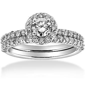 1 cttw Diamond Round Halo Engagement Wedding Ring Set 14k White Gold