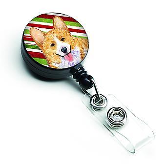 Corgi Candy Cane vacaciones Navidad insignia Retractable del carrete