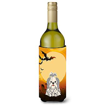 Halloween Shih Tzu Silver White Wine Bottle Beverge Insulator Hugger