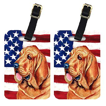 Pair of USA American Flag with Bloodhound Luggage Tags
