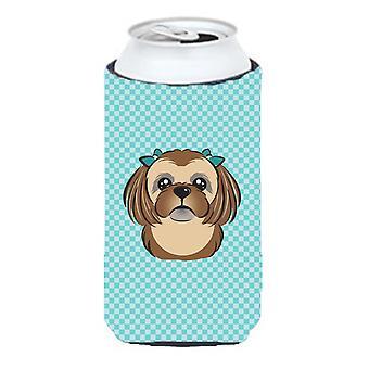 Checkerboard Blue Chocolate Brown Shih Tzu Tall Boy Beverage Insulator Hugger
