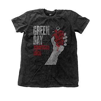 Green Day T Shirt American Idiot Album Cover officielle Herre nye sort sne vask