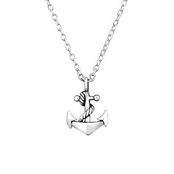 Anchor - 925 Sterling Silver Plain Necklaces - W32249X
