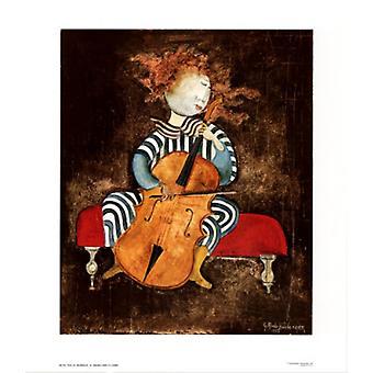 Fille au Violoncelle Poster Print by Graciela Rodo Boulanger (26 x 30)
