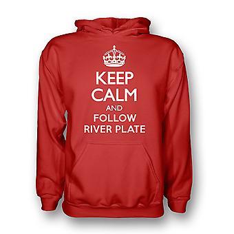 Mantener la calma y siga río placa con capucha (roja)