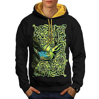 Volley balle vêtements homme noire (capot or) contraste Hoodie | Wellcoda