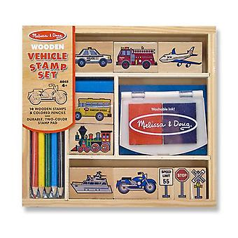 Melissa & Doug Wooden Vehicle Stamp Set Age 4+  Childrens Craft