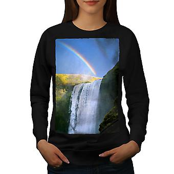 Waterfall Rainbow Women BlackSweatshirt | Wellcoda