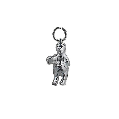 Silver 18x12mm Leprechaun with pipe Pendant or Charm