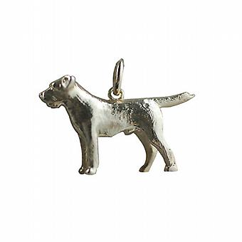9ct Gold 15x27mm short haired Mastiff Dog Pendant or Charm