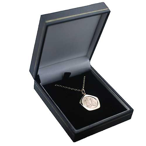 9ct Gold 21mm five sided Libra Zodiac Pendant with an oval Belcher chain