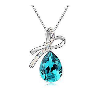 Anhänger N? Ud Kristall von Swarovski Elements blau und weiß-Gold-Platte