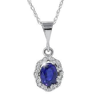 1 1/4ct Sapphire & Diamond Halo Pendant 14K White Gold