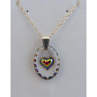 Hand Painted Heart Oval Crystal Pendant - Iridescent