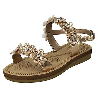 Girls Spot On Slingback Flowery Sandals H0292 - Rose Gold Metallic Foil - UK Size 10 - EU Size 28 - US Size 11