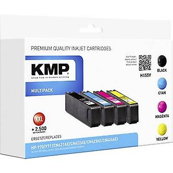 KMP Ink replaced HP CN62xAE (970/971) Compatible Set Black, Cyan, Magenta, Yellow H155V 1902,4850