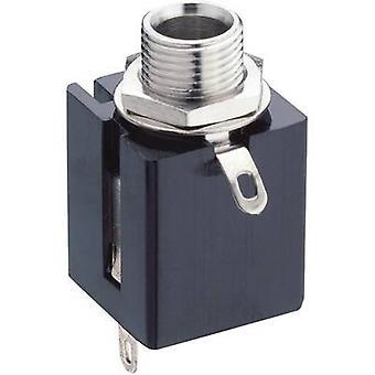 jack audio toma, vertical vertical número de pernos de 6,35 mm: PC estéreo negro Lumberg KLBP 3 1 3