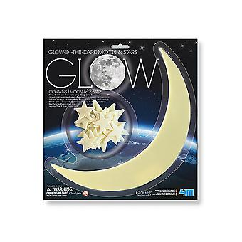 SALE - Giant Glow In The Dark Crescent Moon and 12 Assorted Stars