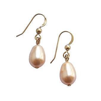 Gemshine - damer - øredobber - perle - steg - drypp - gullbelagt - 11 mm