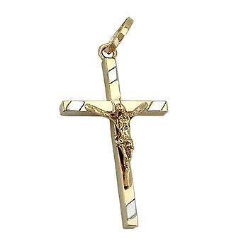375 pendants gold cross pendant, cross Jesus bicolor 9 KT GOLD
