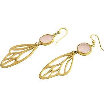 Ladies - earrings - butterfly - wings - WINGS - 925 Silver - gold plated - DRUZY - Rose Quartz - 6.5 cm