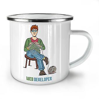 Web Developer NEW WhiteTea Coffee Enamel Mug10 oz | Wellcoda