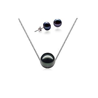 Set necklace and earrings woman 925/1000 silver and pearls of Culture of freshwater black