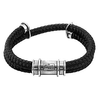 Anchor and Crew Larne Rope Bracelet - Black/Silver