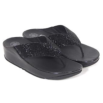 FitFlop™ Women's Crystall™ Leather Slip On Toe Post Sandal Black
