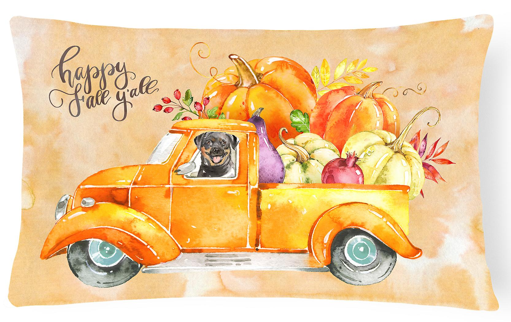 Canvas Pillow Decorative Fall Harvest Rottweiler Fabric 1FJc3TlK