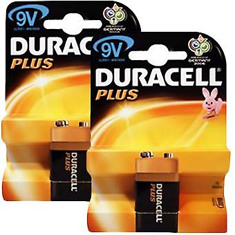 2 x Duracell MN1604PLUS-B1 Plus Alkaline Battery 9V Size