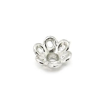 الحزمة 50 + نغمة الفضة التبتية زهرة حبة قبعات 7 مم HA12835