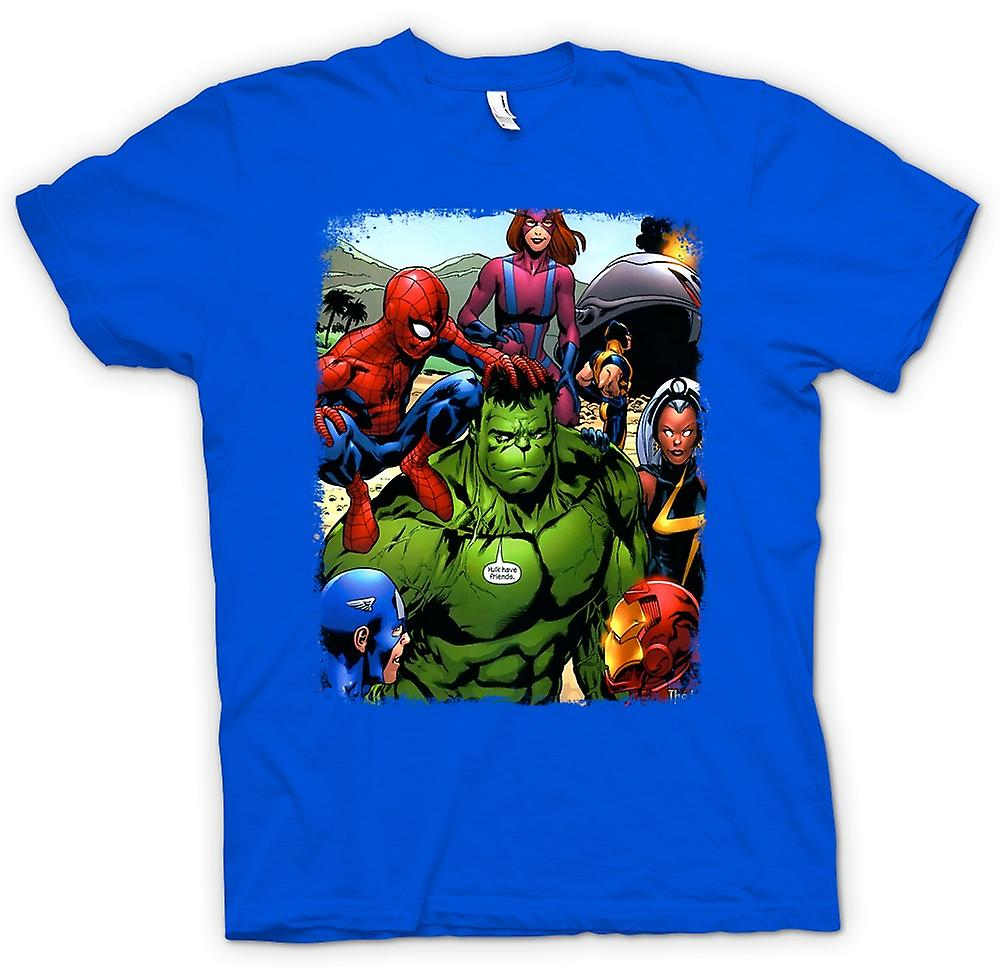 Hommes T-shirt - Hulk Spiderman Iron Man