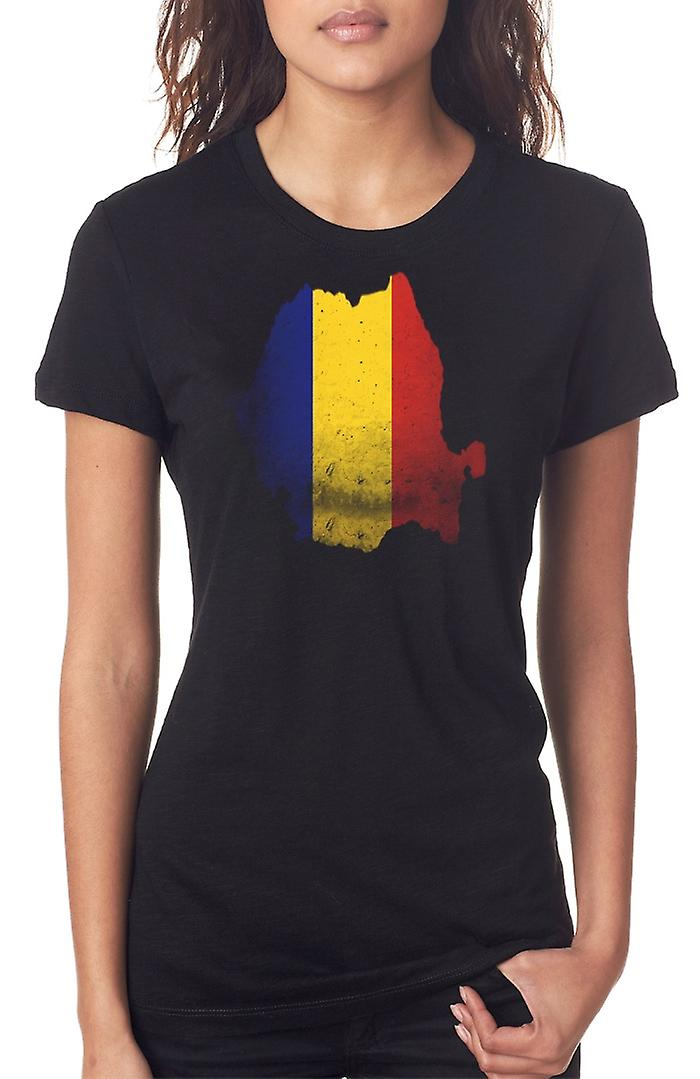 Romania Flag Map Ladies T Shirt