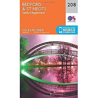 OS Explorer mapa (208) Bedford e St.Neots, Sandy e Biggleswade